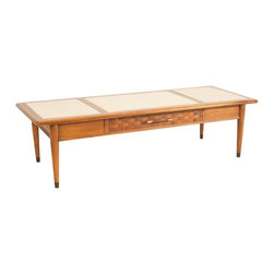Unbranded - Consigned Mid Century Modern Walnut and Stone Coffee Table - • Mid Century Modern | Danish