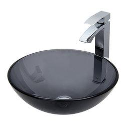 VIGO Industries - VIGO Sheer Black Glass Vessel Sink and Faucet Set in Chrome - The VIGO Sheer Black glass vessel sink with Chrome faucet set is a must have for the contemporary bathroom.