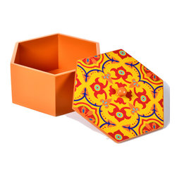"Concepts Life - Concepts Life HandPainted Moroccan Box - This majestic decorative box is wonderful for the mantle or coffee table. We store precious photos and keepsakes in these intricate hand-painted Moroccan boxes, and the beautiful colors and hexagonal flare add an enchanting accent to any space.  Hand-painted wooden box with lid Vivid colors Perfect as a decorative item or use to store keepsakes Dimensions: 3""h x 6"" diameter"