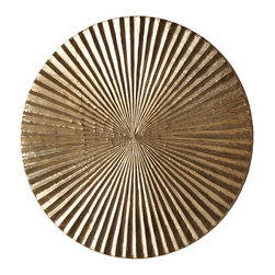 Apollo Medium Metal/Wood Wall Plaque - Silver - A superb crowning element in a transitional wall arrangement with the simplicity of its basic motif yielding a richly-textured complexity of form, the Apollo Wall Plaque in Silver is a timeless disk of carved wood with silvery metal coating a radiant complement of corrugations.  Ideal for adding a concentrated touch of metallic color to your d�cor.