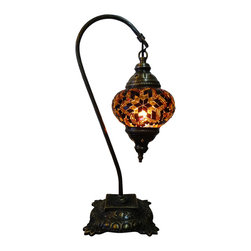 Elegant Tribal Mosaic Lamp - Brown Swan - Authentic Desk Lamp , Moroccan Style Lamp , Night Lamp, Exotic Lamp