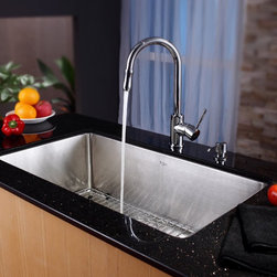 Kraus - Kraus KHU100-32-KPF1622-KSD30CH Single Basin Undermount Kitchen Sink with Faucet - Shop for Kitchen from Hayneedle.com! Simple and clean lines give the Kraus KHU100-32-KPF1622-KSD30CH Single Basin Undermount Kitchen Sink with Faucet a modern appeal to transform your kitchen set. The faucet operates with a smooth twist of the single handle and even doubles as a strong sprayer. It's all made from stainless steel to ward off corrosion without issue.Product SpecificationsBowl Depth (inches): 10Weight (pounds): 31Low Lead Compliant: YesEco Friendly: YesMade in the USA: YesHandle Style: LeverValve Type: Ceramic DiscFlow Rate (GPM): 2.2Spout Height (inches): 8Spout Reach (inches): 7About KrausWhen you shop Kraus you'll find a unique selection of designer pieces including vessel sinks and faucet combinations. Kraus incorporates its distinguished style with superior functionality and affordability while maintaining highest standards of quality in its vast product line. The designers at Kraus are continuously researching and exploring broader markets seeking new trends and styles. Additionally durability and reliability are vital components at Kraus for developing high-quality fixtures. Every model undergoes rigorous testing and inspection prior to distribution with customer satisfaction in mind. Step into the Kraus world of plumbing perfection. With supreme quality and unique designs you will reinvent how you see your bathroom decor. Let your imagination become reality!