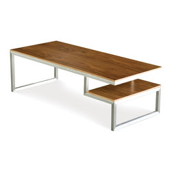 Gus Modern - Gus Modern Ossington Coffee Table - No split decision here. This split-level coffee table is the perfect piece for your favorite modern setting. Its smart design features fine-grained surfaces and a sleek, brushed stainless steel base for the ultimate in cool, casual style.