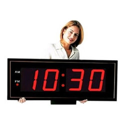 "Big Time Clocks - Giant 8"" Numbers LED Digital Clock with Remote - Did I say BIG? Its over 3 feet long and the large wall clock certainly lives up to its name. Its energy efficient large red LED lights (only few dollars a year in energy consumption) can easily be seen from any angle so youll always know the proper time. Its perfect for any home, business, school, gym, church, warehouse, etc. Features: -Lens material: Glass. -Digital. -Remote control to easily change the time while clock is on the wall. -Heavy duty black aluminum frame. -Plug included. -Batteries included: Back-up. -Superb for nearsightedness. -Excellent for the legally blind and visually impaired or low-vision. -Easily viewed from practically any distance. -Great for home, business, school, gym, church, warehouse. Specifications: -Power Source: 110 volt AC adapter is included. -Approximate Dimensions: 40"" x 14"" x 1-1/2"". -1 year warranty."