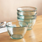 Valencia Bowls - I love the blue tint of these sleek glass bowls and wish I had them on my kitchen shelf.