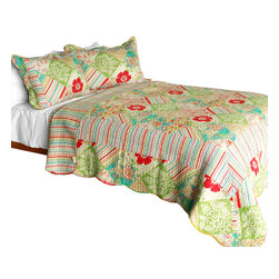 Blancho Bedding - [Springtime Hills] 3PC Vermicelli-Quilted Floral Patchwork Quilt Set Full/Queen - Set includes a quilt and two quilted shams (one in twin set). Shell and fill are 100% cotton. For convenience, all bedding components are machine washable on cold in the gentle cycle and can be dried on low heat and will last you years. Intricate vermicelli quilting provides a rich surface texture. This vermicelli-quilted quilt set will refresh your bedroom decor instantly, create a cozy and inviting atmosphere and is sure to transform the look of your bedroom or guest room. Dimensions: Full/Queen quilt: 90 inches x 98 inches  Standard sham: 20 inches x 26 inches.