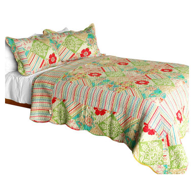 Blancho Bedding - Springtime Hills 3PC Vermicelli-Quilted Floral Patchwork Quilt Set Full/Queen - Set includes a quilt and two quilted shams (one in twin set). Shell and fill are 100% cotton. For convenience, all bedding components are machine washable on cold in the gentle cycle and can be dried on low heat and will last you years. Intricate vermicelli quilting provides a rich surface texture. This vermicelli-quilted quilt set will refresh your bedroom decor instantly, create a cozy and inviting atmosphere and is sure to transform the look of your bedroom or guest room. Dimensions: Full/Queen quilt: 90 inches x 98 inches  Standard sham: 20 inches x 26 inches.