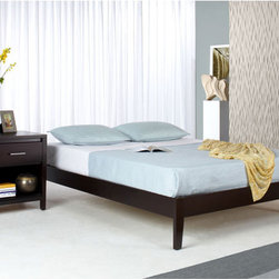 Domusindo - Solid Wood Tapered-Leg King-Size Platform Bed - Bed has simple modern styling which matches a wide variety of bedroom accessories Furniture is constructed from tropical mahogany solid wood Platform bed features 12 solid wood cross slats, center slat, and center leg supports