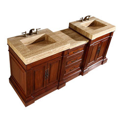 """Silkroad Exclusive - 83 Inch Traditional Double Sink Bathroom Vanity - This 83 inch traditional double sink bathroom vanity is a perfect center piece for your bathroom project.  This Cherry bathroom vanity features 4 Doors, 5 Drawers, and a Travertine counter top with an integrated sink that is pre-drilled for a standard three hole 8 inch center faucets, (faucet not included). Large opening in back for easy plumbing installation.  Dimensions: 83""""W X 23""""D X 36""""H  (Tolerance: +/- 1/2""""); Counter Top: Travertine; Finish: Cherry; Features: 4 Doors, 5 Drawers; Hardware: Antique Brass; Sink(s): 17"""" X 12"""" Travertine Integrated Sink; Faucet: Pre-Drilled for Standard Three Hole 8"""" Center (Not Included); Assembly: Light Assembly Required - Item ships in 3 pieces; Large cut out in back for plumbing; Included: Cabinet, Sink; Not Included: Faucet, Backplash."""