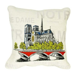 "Jules Pansu - Notre Dame Pop Tapestry Pillow - Since 1878 Jules Pansu {Paris} has created & manufactured some of the most beautiful wall tapestries and fabrics available anywhere. And now their collection includes exquisite home accessories that use the time honored tradition of jacquard weaving and lead the way in innovative textile design. Today Jules Pansu celebrates 130 years of enriching homes with vivid colors, savoir-faire and innovation. Features: -Color: Cream Multi. -Material: Cotton twill. -Insert filled with 95% white goose feathers / 5% white goose down. -210 Thread count. -Dry clean only. Dimensions: -18"" W x 18"" D, 2 lbs."