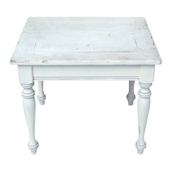Consigned French Country Distressed Wood Table - Place this lovely table in the living room, sitting room, or foyer for a nod to all things French Country or Americana Farmhouse. It's Vintage Distressed Wood with shabby style White and Gray paint - revealing natural wood underneath.