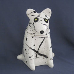 Mercedes Pottery - Dog Treat Jar White - Ceramic, earthenware clay, Dog Treat, Jar