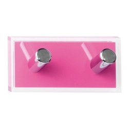 Gedy - Pink Double Hook made of Thermoplastic Resins - A sensible option for a designer or contemporary master bathroom, this towel hook is the perfect option.