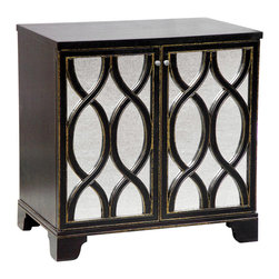 "Oly Studio - Oly Studio Elisabeth Bedside Table - Mixing traditional and global design elements, the Elisabeth bedside table by Oly Studio makes a statement with antiqued mirror doorfronts dressed with a trellis-inspired overlay carved from wood. 30""W x 20""D x 30""H; Wood and glass; Two doors conceal 1 adjustable shelf; Shown in dark brown with gold detailing; Choose from several finish options; Handcrafted with natural and expected variations"