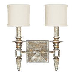 "Lamps Plus - Traditional Palazzo 13"" Wide Silver and Gold Leaf Wall Sconce - This stunning old Italian style silver and gold leaf 2-light wall sconce features a distressed finish and small soft off-white fabric drum shades. The decorative arms are inset with antiqued mirror details. From the Palazzo collection which graciously mixes old with new; antique with modern. Silver and gold leaf wall sconce. Antiqued mirror inserts. White fabric drum shades. Takes two 60 watt candelabra bulb (not included). 13"" wide. 14 1/2"" high. Extends 6 1/4"" from the wall.  Silver and gold leaf wall sconce.   Antiqued mirror inserts.   White fabric drum shades.   Takes two 60 watt candelabra bulb (not included).   13"" wide.   14 1/2"" high.   Extends 6 1/4"" from the wall."