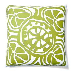 5 Surry Lane - Indoor Outdoor Modern Floral Decorative throw Pillow, Green, 20x20, Contemporary - Modern floral indoor outdoor pillow.  Add a bright pop of color to your deck or patio.  100% soft polyester.  Water resistant.  Mold and mildew resistant.  Withstands UV rays.  Down insert included.  Hidden zipper closure.
