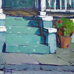 Green Stoop (Original) by Domi Williams - The famous stoop in New Orleans is something old timers can remember.