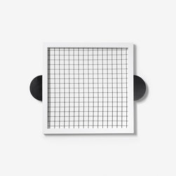 Square Serving Tray - This canvas and enameled wood tray gives me a pang of nostalgia: The surface design reminds me of the graph paper I used in school. It's appealing as a simple yet bold design, and the protruding handles are unique and give it an unusual, geometric style.