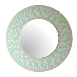 "Round Mirror - Pastels, 18"" - DESCRIPTION"
