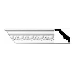 Renovators Supply - Cornice White Urethane Dunkirk - Cornice - Ornate | 11377 - Cornices: Made of virtually indestructible high-density urethane our cornice is cast from steel molds guaranteeing the highest quality on the market. High-precision steel molds provide a higher quality pattern consistency, design clarity and overall strength and durability. Lightweight they are easily installed with no special skills. Unlike plaster or wood urethane is resistant to cracking, warping or peeling.  Factory-primed our cornice is ready for finishing.  Measures 94 inch X 2 1/2 inch