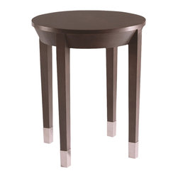 Sherrill Occasional - Sherrill Occasional Round End Table 340-910 - The perfect round complement to this transitional table Greenwich collection highlighted with nickel accents.