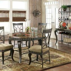 Steve Silver Co. - Hamlyn 6 Pc Marble Top Dining Table Set in Pe - Includes: 1 Table, 4 Charis & 1 Bakers rack. Wavy panels and decorative curved legs. Earth tone inspired marble top. Bakers rack features wine glass & bottle storage. Pewter finish. Contemporary style. Sturdy gauge metal construction. Select hardwood solids material. Some assembly required. Durable beige chenille seat cushion. 18 in. seat height. Table: 44 in. L x 44 in. W x 31 in. H (112 lbs.). Chair: 18.5 in. L x 18 in. W x 41 in. H. Server: 42 in. W x 17 in. D x 73 in. H (71 lbs.)