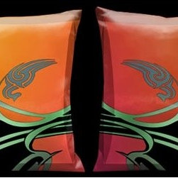 Lama Kasso - Orient Express Art Deco Orange and Black 18 x 18 Satin Pillow - -Satin  -One pillow only image shows front and back design Lama Kasso - 1