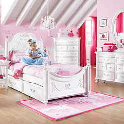 Disney Princess White Twin Poster Bedroom - I like that this is whimsical and white, yet it isn't baby-ish or too much. It has a nice balance.