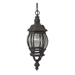 Exteriors - Exteriors Cast Aluminum French Style Traditional Outdoor Hanging Light X-70-123Z - This Craftmade Cast Aluminum French Style traditional outdoor hanging light has a look that's sure to stand out. It's anything but simple, with the interesting design of the cast aluminum frame in a warm, rust finish and clear beveled glass panels. Not only is this an impressive piece, but the powder coat finish also makes it durable and virtually maintenance free.