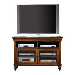 Hooker Furniture - Entertainment Console 44 inch  1037-56470 - Two open areas; two wood-framed beveled glass doors with one adjustable shelf behind each; one three plug outlet