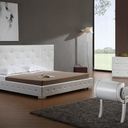 Melody White Modern Leather Platform Bed - Leather match upholstery