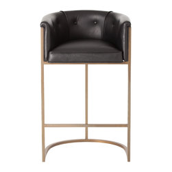 Kathy Kuo Home - Calvin Top Grain Black Leather Art Deco Bar Stool - Technically this is a barstool, however it has such a luxurious, buttery leather and nickel finish to it, it feels more like a mid century chair in high heels.  Sophisticated, contemporary spaces will love this piece.