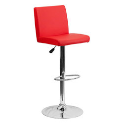 Flash Furniture - Contemporary Red Vinyl Adjustable Height Bar Stool with Chrome Base - This dual purpose stool easily adjusts from counter to bar height. The simple design allows it to seamlessly accent any area in the home. Not only is this stool stylish, but very comfortable to provide you with an amazing sitting experience! The easy to clean vinyl upholstery is an added bonus when stool is used regularly. The height adjustable swivel seat adjusts from counter to bar height with the handle located below the seat. The chrome footrest supports your feet while also providing a contemporary chic design.
