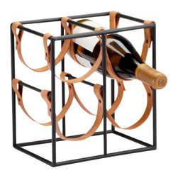 Cyan Design - Esquire Leather Wine Holder, Small - The Esquire Leather Wine Holder is sturdy and industrial with vintage appeal. The frame is finely crafted of iron with with a raw steel finish. Real cowhide leather straps securely cradle bottles with a unique suspended design. The Esquire Leather Wine holder is available in an eight-bottle, five-bottle, or four-bottle configuration. Choose a single holder for ample countertop storage, or pair multiples to create your own home wine cellar. The Esquire Leather Wine Holder is an excellent gift for the sophisticated host or hostess, or the defining touch to your modern home bar.