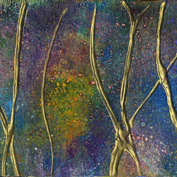 """Original mixed media paintings - """"Woods"""" is an abstract, mixed-media on canvas. Multi-color, blue, yellow, pink, and violets with gold leaf raised embellishment. Ink, pastel and acrylic on primed, flat canvas. This is a small, unique piece."""