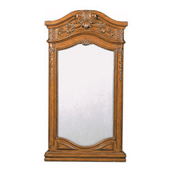 Private Retreat Bathroom Mirror - The Private Retreat Single Bath Mirror is the perfect accessory for the Private Retreat Vanity, but its traditional style is great for almost any bathroom. Beautiful ornate carvings are found all over this piece. The medium oak finish is not only handsome but highly versatile.