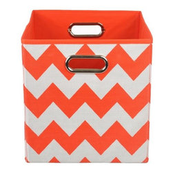 Modern Littles - Bold Red Chevron Folding Storage Bin - Organize in style with this colorful storage bin. With its bold hue and easy-to-use design, it'll give any room a fun pop -- and hold all of baby's toys, blankets, and more. Perfect for kids' rooms, playrooms, or closets, it folds flat when not in use for easy storage, and the lightweight design features handles for effortless carrying.