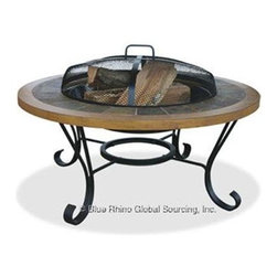 "Blue Rhino - UF 34"" Outdr Firebowl Slate - Uniflame WAD1358SP Slate Tile/ Faux Wood Outdoor Firebowl... This Blue Rhino outdoor wood burning firepit is a functional and affordable addition to any deck  patio or pool side. It features a handcrafted slate tile and faux wood mantle for a traditional and elegant feel. Also included is the insert cover which instantly converts from a firepit to a table  perfect for entertaining. Simple assembly with no tools required makes this into a extremely functional and affordable additon to any home.   Diameter: 34 inches  This item cannot be shipped to APO/FPO addresses. Please accept our apologies."