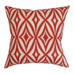 "The Pillow Collection - Petar Geometric Pillow Red - Make your living room, bedroom or guestroom a perfect place for relaxation by propping this square pillow. This accent pillow features an intricate geometric pattern in shades of red and white. This decor pillow is versatile and easily blends in various settings. Place this 18"" pillow on top of the couch, sofa or chair for extra comfort. Made from 100% soft and high-quality cotton fabric. Hidden zipper closure for easy cover removal.  Knife edge finish on all four sides.  Reversible pillow with the same fabric on the back side.  Spot cleaning suggested."