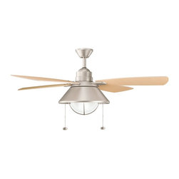 """DECORATIVE FANS - DECORATIVE FANS Seaside 54"""" Contemporary Indoor / Outdoor Ceiling Fan X-IN131013 - A blend of clean lines and soft finishes give a unique touch to this nautically inspired Kichler Lighting outdoor ceiling fan. From the Seaside Collection, the crisp tones of the Brushed Nickel finish provide a clean backdrop for the white cased opal glass shade and light oak fan blades."""