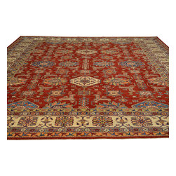 Red High Quality Kazak Rug 10'x13' Hand Knotted 100% Wool Tribal Design Sh18054 - Our Tribal & Geometric hand knotted rug collection, consists of classic rugs woven with geometric patterns based on traditional tribal motifs. You will find Kazak rugs and flat-woven Kilims with centuries-old classic Turkish, Persian, Caucasian and Armenian patterns. The collection also includes the antique, finely-woven Serapi Heriz, the Mamluk Afghan, and the traditional village Persian rug.
