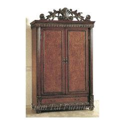 Yuan Tai - Bella Ladies Armoire - Includes clothing rod. Two doors. One dovetail drawer. Double hinged wrap around doors. Gold accents. Intricate resin carvings. Cherry ash burl finish. Warranty: Six months limited. Made from solid hardwoods and wood veneers. Mahogany finish. Assembly required. 48 in. W x 25 in. D x 85 in. H (375 lbs.)