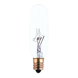 Bulbrite - Specialty Tubular Incandescent Bulbs in Clear - One pack of 25 Bulbs. 145V T6 type E12 candelabra base bulb. 360 degrees beam spread. Long life. Perfect for commercial, industrial, appliance, amusement, sign and display lighting applications. Dimmable. Average hours: 2500. Color temperature: 2700 K. Color rendering index: 100. Wattage: 15 watt. Lumens: 100 CP. Maximum overall length: 2.87 in.