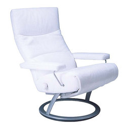 Jessye Reclining Chair by Lafer - The Jessye Reclining chair is a good example of a leather reclining chair that is versatile in its uses and fascinating in its looks. This leather chair is available in a whole range of colors such as Dark Brown,Lime Green,Bright Red,Light Beige,and Black.