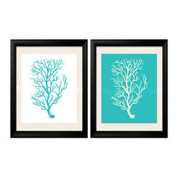 Coral Prints, Teal Coral Artwork - Two 8x10 archival quality prints of antique sea coral: One is a soft white silhouette on a teal background, the other one is an soft white silhouette on a teal background.