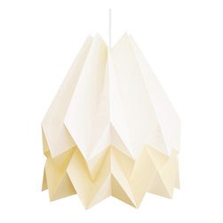 Modern Origami Ceiling Light Shade, White/Yellow - The Origami Shade is a lightweight, functional work of art with heart. With an emphasis on environmentally conscious construction, its complex geometry reflects the charitable cause it supports, the Adobe For Women Association, which empowers women in Mexico to build their own homes and earn a viable living. This two-tone shade in yellow and white provides a warm, dreamy glow whether you're curling up with a good book or setting the mood for an evening fiesta.