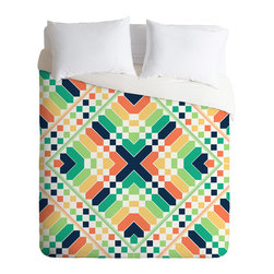 DENY Designs - Budi Kwan Retrographic Rainbow Queen Duvet Cover - You're bound to have some vivid dreams with this incredible duvet cover. Made of ultra soft woven polyester, it's got a solid white bottom so your patterned sheets won't clash.
