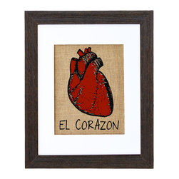 Fiber and Water - El Corazon Art - Inspired by the Spanish Loteria, this vivid red heart seems to beat with passion and vitality. It's hand-printed onto natural burlap for a unique, earthy touch and comes ready to hang in a distressed black wood frame and white matte. Great for rooms with Spanish or eclectic multicultural style influences.