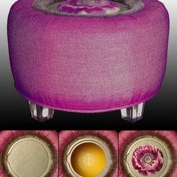 """TrueBee® Design - 'Platinum Poppy' CROWN Storage Ottoman by TrueBee® Design - Dimensions:  28.75"""" DIA x 19.0"""" H"""