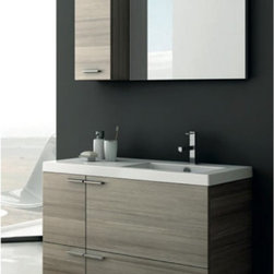 ACF by Nameeks - ACF by Nameeks ACF ANS24-LC New Space 39-in. Single Bathroom Vanity Set - Larch - Shop for Bathroom from Hayneedle.com! Reliable function and elegant style make the ACF by Nameeks ACF ANS24-LC New Space 39-in. Single Bathroom Vanity Set - Larch Canapa an essential addition. You'll find all you need to transform your bath with this five-piece set coming complete with vanity sink mirror short storage cabinet and vanity light. Just make your choice of faucet to round out the set. Floating over your floor the wall-mounted vanity has clean simple lines to complement the modern appeal. Large chunky hardware plays off the Larch Canapa finish with a bright chrome.Component Dimensions:Vanity dimensions: 39.2W x 17.7D x 21.8H in.Mirror dimensions: 27.6H x 21.8W in.Fitted rectangular sink dimensions: 23.6W x 17.7D in.About NameeksFounded with the simple belief that the bath is the defining room of a household Nameeks strives to design a bath that shines with unique and creative qualities. Distributing only the finest European bathroom fixtures Nameeks is a leading designer developer and marketer of innovative home products. In cooperation with top European manufacturers their choice of designs has become extremely diversified. Their experience in the plumbing industry spans 30 years and is now distributing their products throughout the world today. Dedicated to providing new trends and innovative bathroom products they offer their customers with long-term value in every product they purchase. In search of excellence Nameeks will always be interested in two things: the quality of each product and the service provided to each customer.